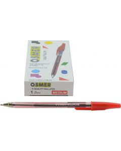 OSMER CAP MODEL BALL PEN MEDIUM 1.0mm BALL - DOZEN - RED - OS73