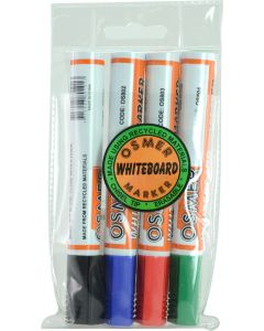 OSMER CHISEL TIP WHITEBOARD MARKER 4 COLOUR WALLET - OS819W