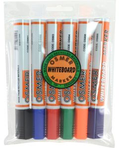 OSMER CHISEL TIP WHITEBOARD MARKER - 6 COLOUR WALLET - OS819W6