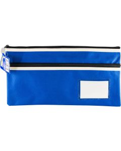POLYESTER PENCIL CASE - 2 ZIP -35 X 18CM - BLUE - P3518B2
