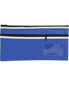 POLYESTER PENCIL CASE - 2 ZIP -35 X 18CM - BLUE - P3518B2