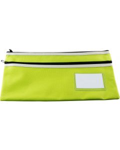 POLYESTER PENCIL CASE - 2 ZIP -35 X 18CM - GREEN - P3518G2