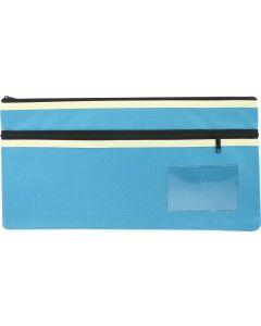 POLYESTER PENCIL CASE - 2 ZIP -35 X 18CM - LIGHT BLUE - P3518LB2