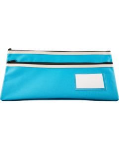 POLYESTER PENCIL CASE - 2 ZIP -35 X 18CM - LIGHT BLUE - P3518LB2