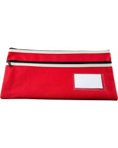 POLYESTER PENCIL CASE - 2 ZIP -35 X 18CM - RED - P3518R2