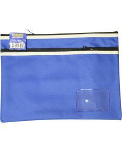 POLYESTER PENCIL CASE - 2 ZIP -35 X 26CM - BLUE - P3526B2