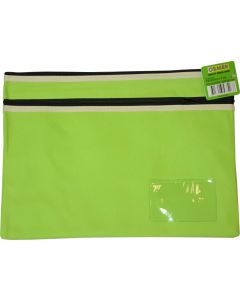 POLYESTER PENCIL CASE - 2 ZIP -35 X 26CM - GREEN - P3526G2