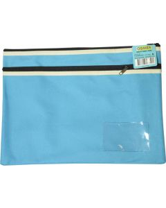 POLYESTER PENCIL CASE - 2 ZIP -35 X 26CM - LIGHT BLUE - P3526LB2