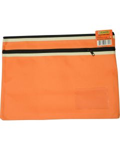 POLYESTER PENCIL CASE - 2 ZIP -35 X 26CM - ORANGE - P3526O2