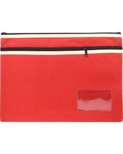 POLYESTER PENCIL CASE - 2 ZIP -35 X 26CM - RED - P3526R2