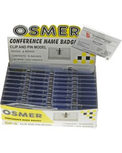 OSMER CONFERENCE NAME BADGES - CLIP & PIN - 92mm X 60mm - CP-3L