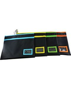 POLYESTER - BLACK PENCIL CASE WITH NAME CARD - 2 ZIP 35 X 26CM - POLB3526
