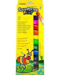 SOLID POSTER PAINT CRAYON STICK - 12 COLOURS - SPP12