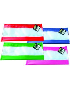 PVC MESH WITH 4 COLOURED BANDS 23CM X 15CM - MCB2315