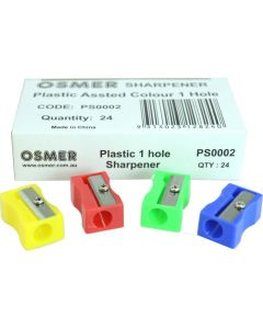 1 HOLE PLASTIC SHARPENER - BOX OF 24 - PS0002