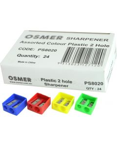 2 HOLE PLASTIC SHARPENER - BOX OF 24 - PS8020