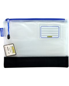 REINFORCED NYLON BOTTOM - CLEAR MESH CASE 27.5 X 20.5CM - BLUE ZIP - RMA5B