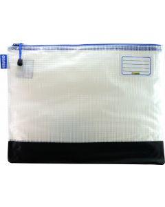 REINFORCED NYLON BOTTOM - CLEAR MESH CASE 42 X 32CM - BLUE ZIP - RMB4B