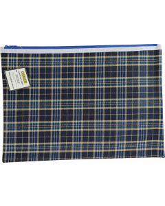 TARTAN BLUE DESIGN PENCIL CASE - GIANT 37.5 X 26CM - 1 ZIP - TARB37261