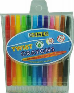 OSMER TWIST JUMBO CRAYON 6MM 12 COLOURS - TWC12C