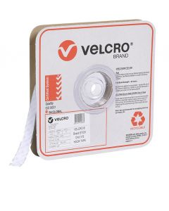 STRIP - 19mm WIDE VELCRO® BRAND BY 25 METRE ROLL - WHITE - HOOK - V14436