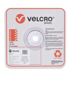 STRIP - 19mm WIDE VELCRO® BRAND  BY 25 METRE ROLL - WHITE - LOOP - V14548