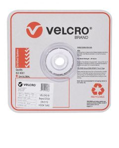 STRIP - 25mm WIDE VELCRO® BRAND BY 25 METRE ROLL - WHITE - HOOK - V14748