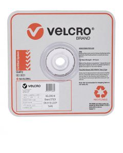 STRIP - 25mm WIDE VELCRO® BRAND  BY 25 METRE ROLL - WHITE - LOOP - V14848