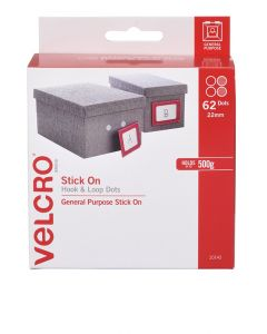 DISPENSER BOX - VELCRO® BRAND  SPOT HOOK & LOOP - WHITE - V20143