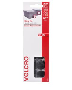 HANGSELL - VELCRO® BRAND HANDY DOTS  - 22mm HOOK & LOOP - BLACK - V24502