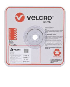 SPOTS  - 16mm VELCRO® BRAND  - 1200 PER ROLL - WHITE - LOOP - V28306