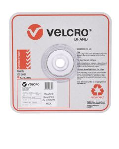 SPOTS - 22mm VELCRO® BRAND  - 900 PER ROLL - WHITE - HOOK - V28706